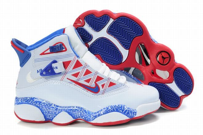 8cf3662fe05b Air Jordan 6 Rings Retro White Blue Red Kids s