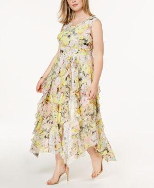 I.n.c. Plus Size Ruffled Lace Maxi Dress, Created for Macy\'s ...