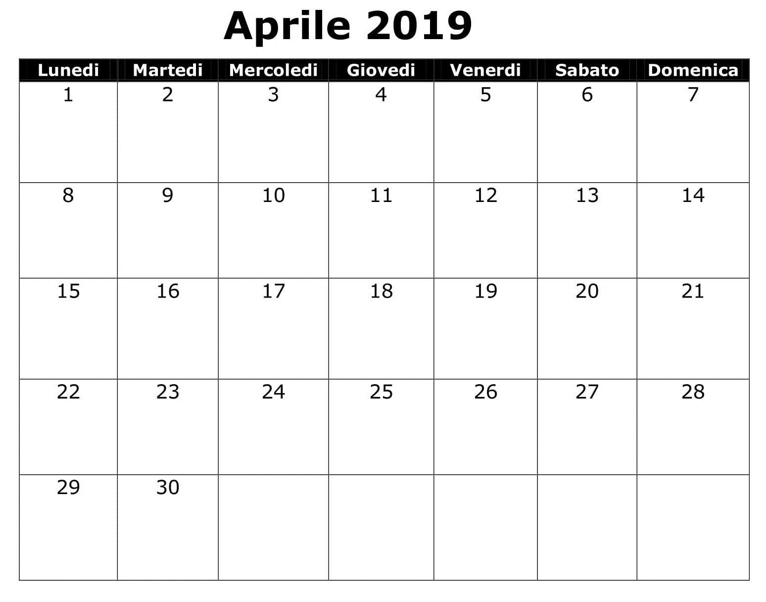Calendario Per Appunti.Calendario 2019 Da Stampare Excel Aprile Calendario 2019