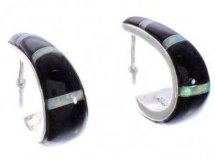 Black Jade And Opal Inlay Silver Earrings EX32589
