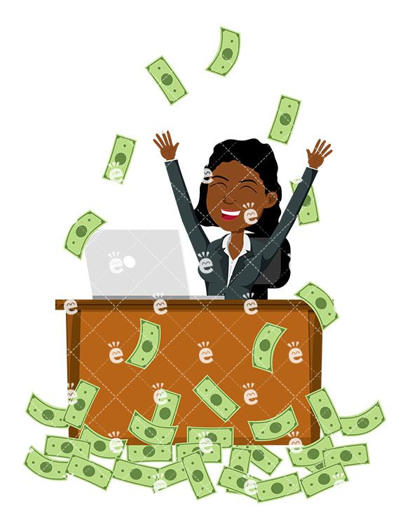 A Black Woman Celebrating As She S Making Money Online Clipart Of