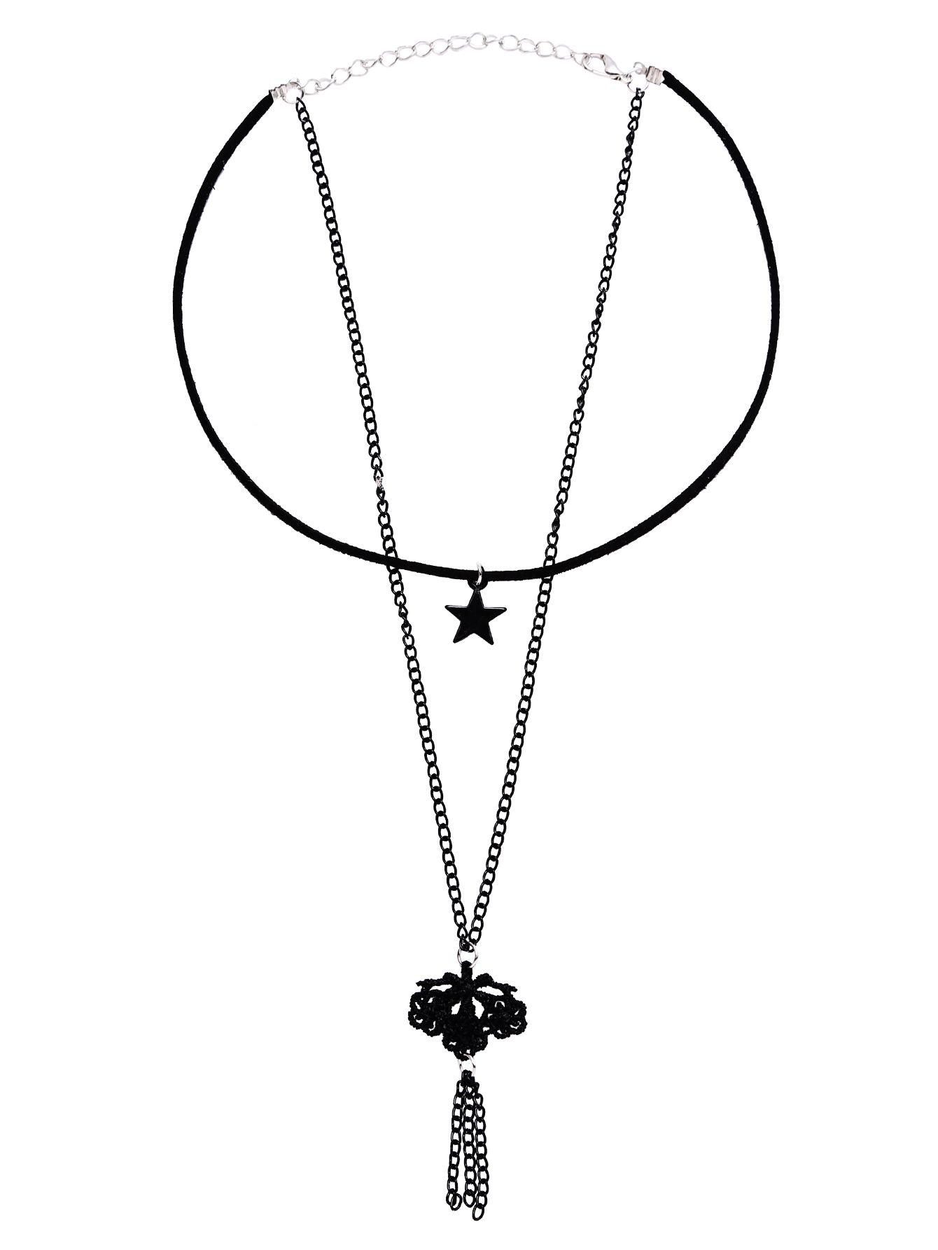Collar estilo retro con colgante de estrella-(Sheinside)