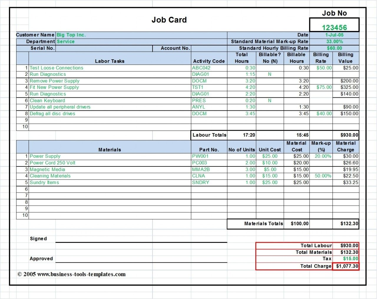 Workshop Job Card Template Excel Labor Amp Material Cost