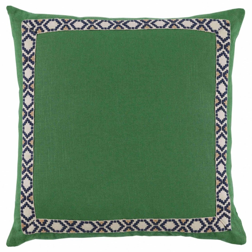 Kelly Linen With Navy On Off White Camden Tape Pillow 24 X 24 In | Gracious Style