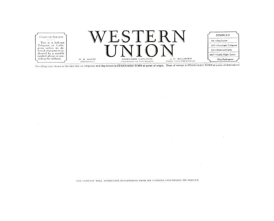Blank Westernunion Telegram Money Transfer Western Union Send Money