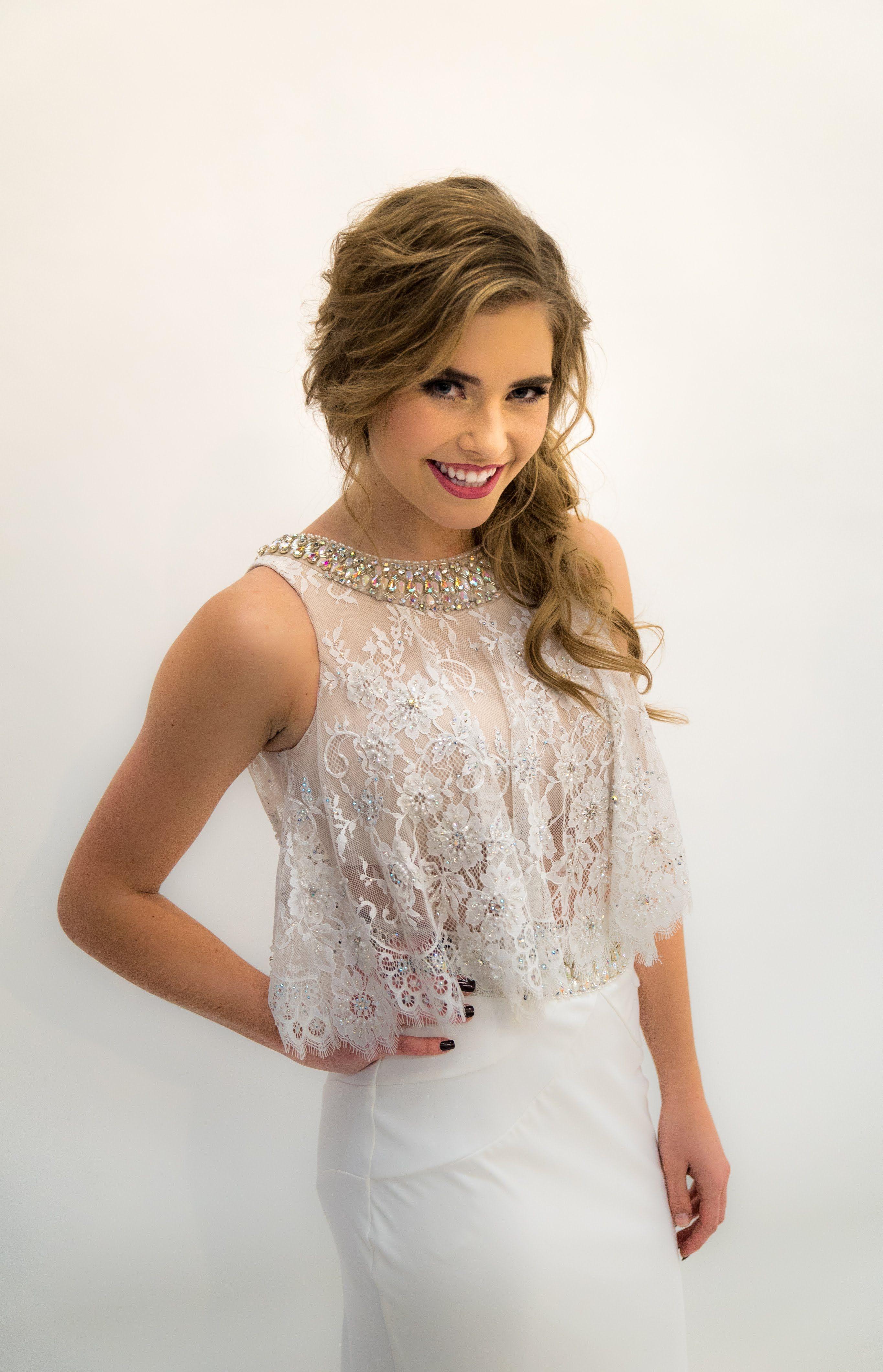 White 2 Piece lace Ypsilon Dresses Prom Pageant Evening