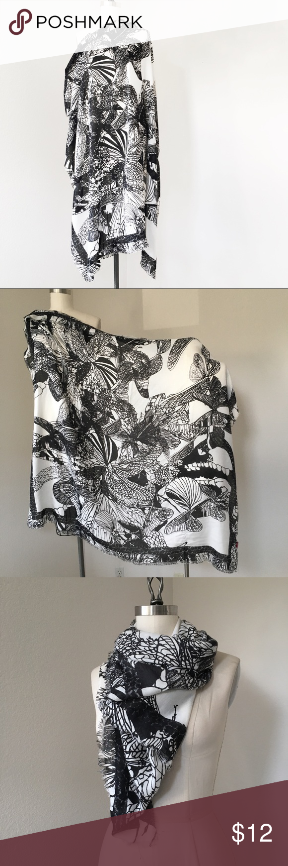 Abstract Black and White Butterfly Scarf Worn once and washed. Soft and cozy, a great add on for a basic t-shirt and jeans look. H&M Accessories Scarves & Wraps