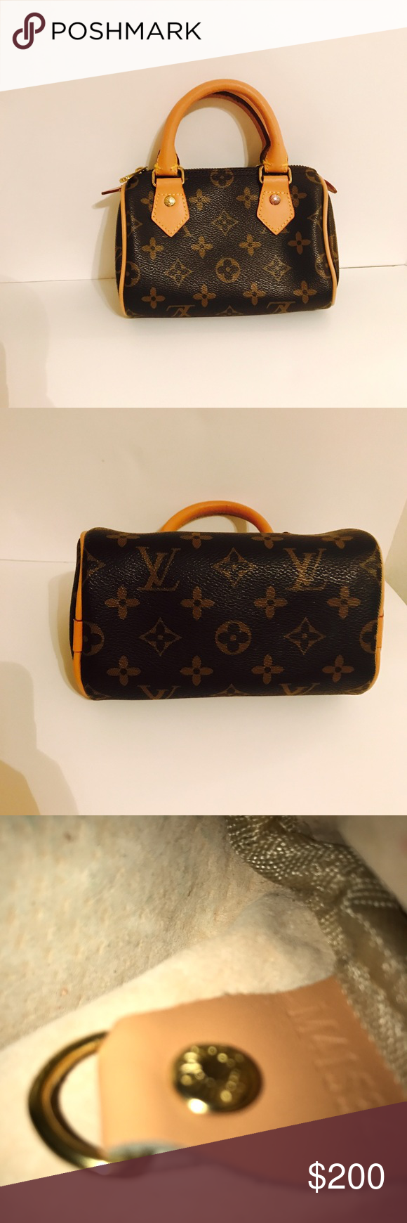 """Cute mini Louis Vuitton bag LV mini bag Measures: 6.5"""" Length, 3"""" Width, 5"""" Height  Great bag for you or even your daughter to wear and match with you !! Has a few imperfections shown above in photos. A few all stains and pen marks inside but nothing too much. Both Zippers work perfect. Made in France. Date code in photo above. Got as a gift so no receipt and no dust bag sorry loves ! Open to reasonable offers only through offer button. Will be happy to take any more requested photos. Thanks…"""