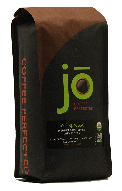 Jo Espresso 12 Oz Medium Dark Roast Whole Bean Organic Arabica Coffee