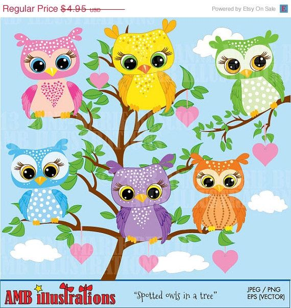 Owls clipart owls in trees forest animals clipart cute baby owl spotted owls you receive these separately as well as the tree so you can create any kind of invitation owl clipart owl clip art stopboris Choice Image