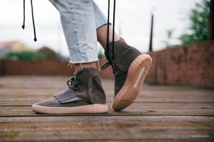 081348d91180f5 adidas Yeezy 750 Boost Light Brown On Foot Feet