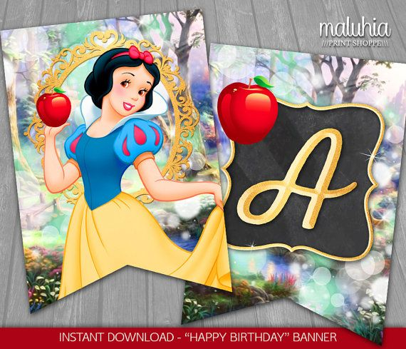 Snow White Birthday Banner Instant Download By Maluhiaprints Snow White Party Snow White Birthday Snow White Birthday Party