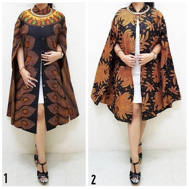 Model Baju Batik Modern Dress: Cape Dress Aef LD 100 . . CP LINE @bebatikanjogja (pakai