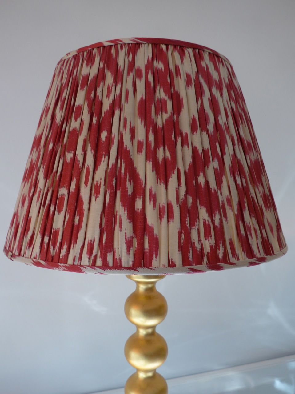 Large red cream patterned ikat lampshade stylin my pad large red cream patterned ikat lampshade aloadofball Choice Image