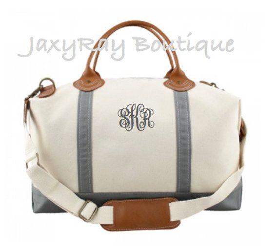 Monogrammed Weekender Bag Gray Color Personalized Duffel