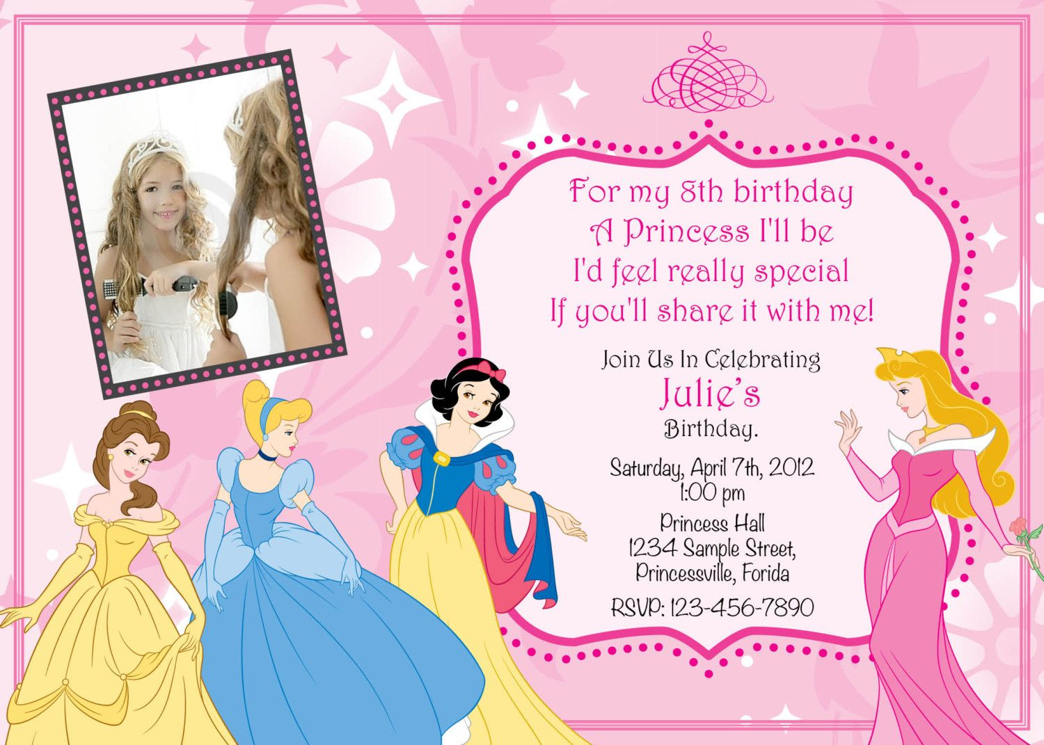 Disney Princess Birthday Invitations Digital Print File Pink Belle ...