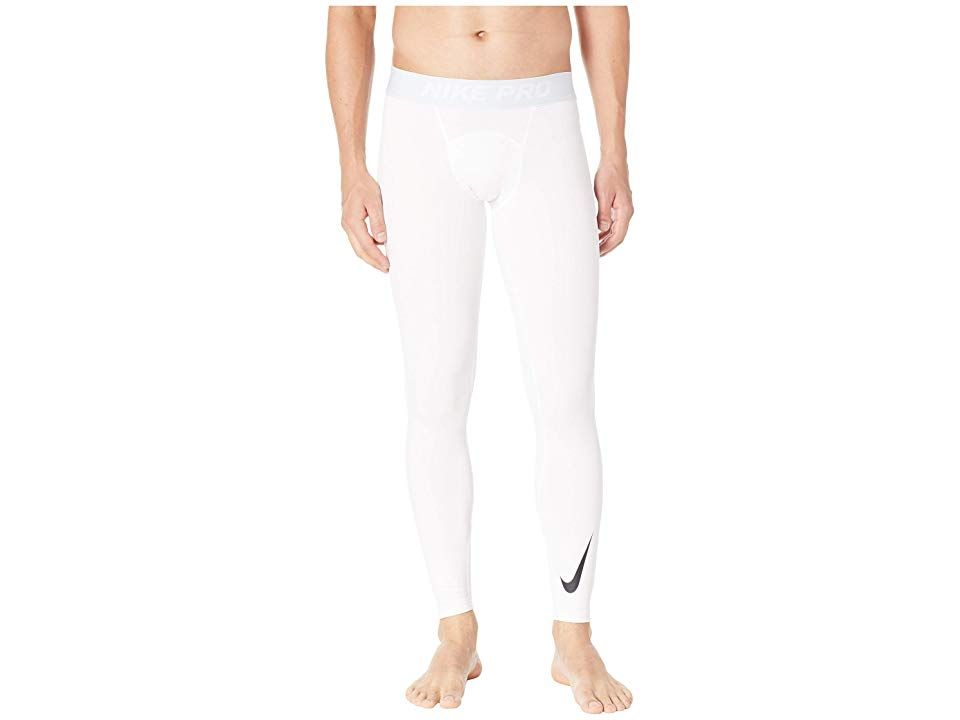 Nike Pro Thermal Tights (White/Pure Platinum/Black) Men's Casual Pants. There's no such thing as the off season with the Nike Pro Thermal Tights. Compression fit keeps everything tight to the body for maximum support. Four-way stretch fabric enhances comfort and allows a wider range of movement. Nike Thermal technology wicks away moisture and insulates body heat for added heat. Novelty elastic waist provides a comfortable fit.