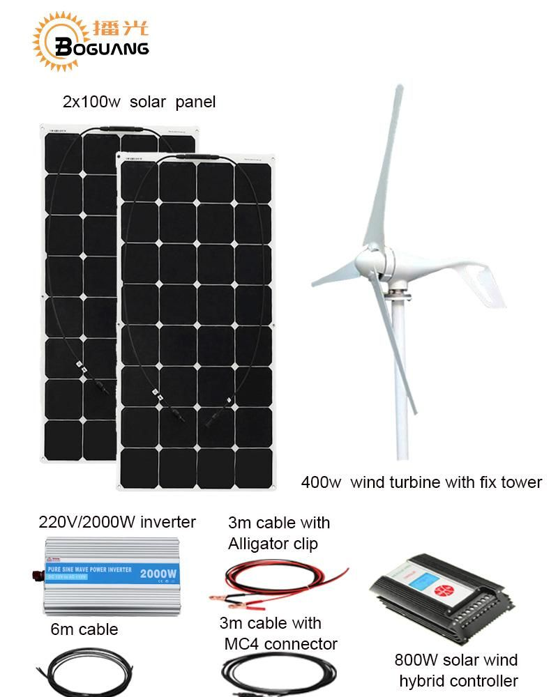 Boguang 1x 400w wind turbine200w solar hybrid solar