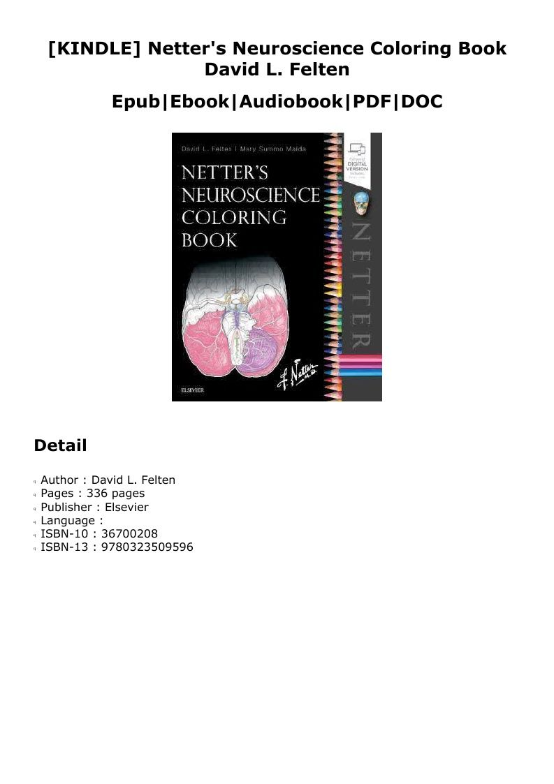 Kindle Netter S Neuroscience Coloring Book David L Felten Z Book Books Coloring Books