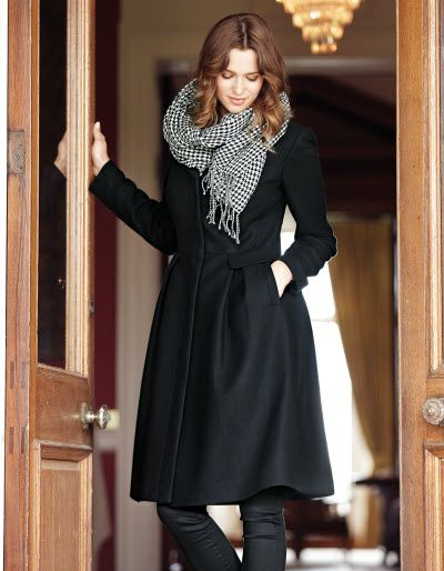 Full Skirt Coat - This super feminine wool blend coat has concealed button fastenings, a flared skirt and functional pockets.