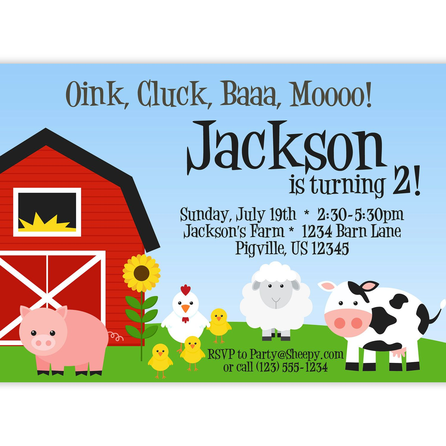 Farm Invitation - Barn Animals, Pig, Chicken, Sheep and Cow ...