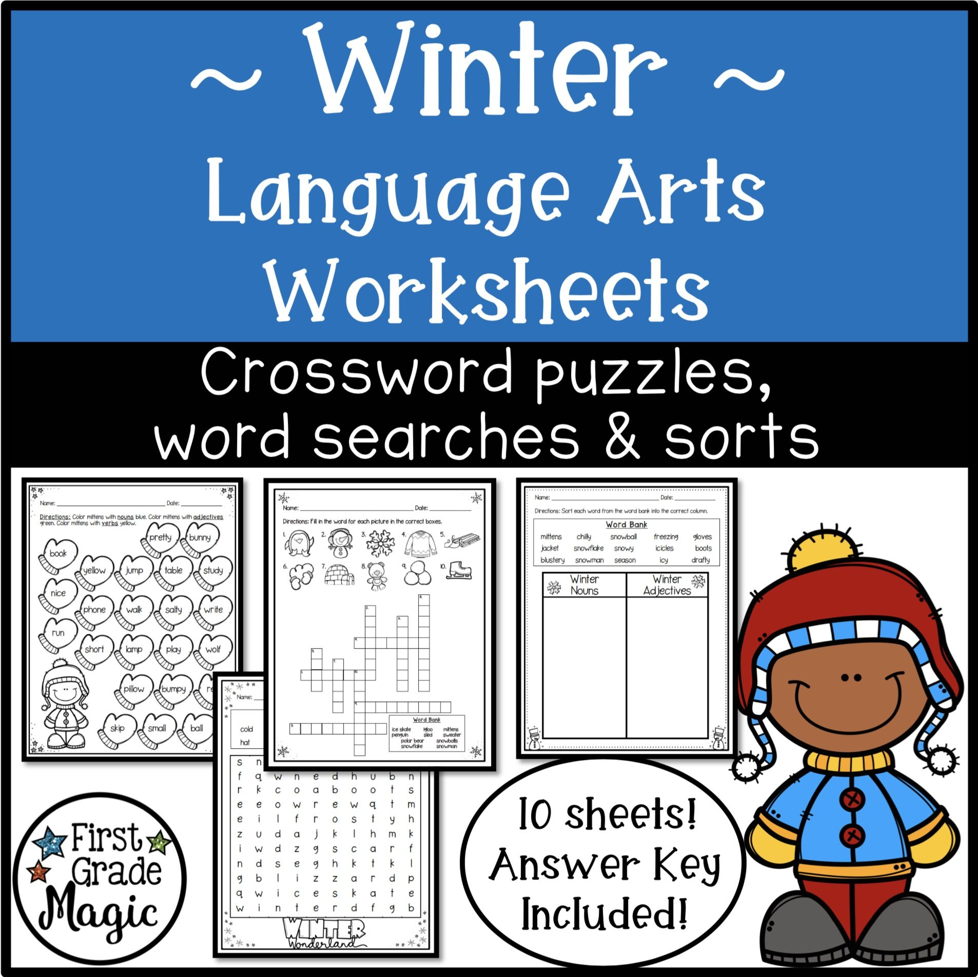 Winter Language Arts Crossword Puzzles Word Searches And