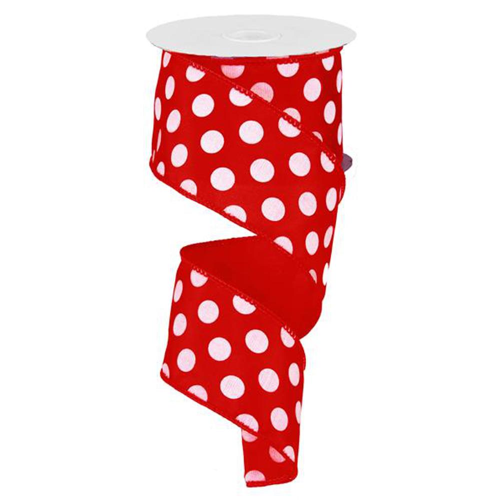 """Large Polka Dot Ribbon - Red/White (RG158924) - 2.5"""" x 10 yds"""