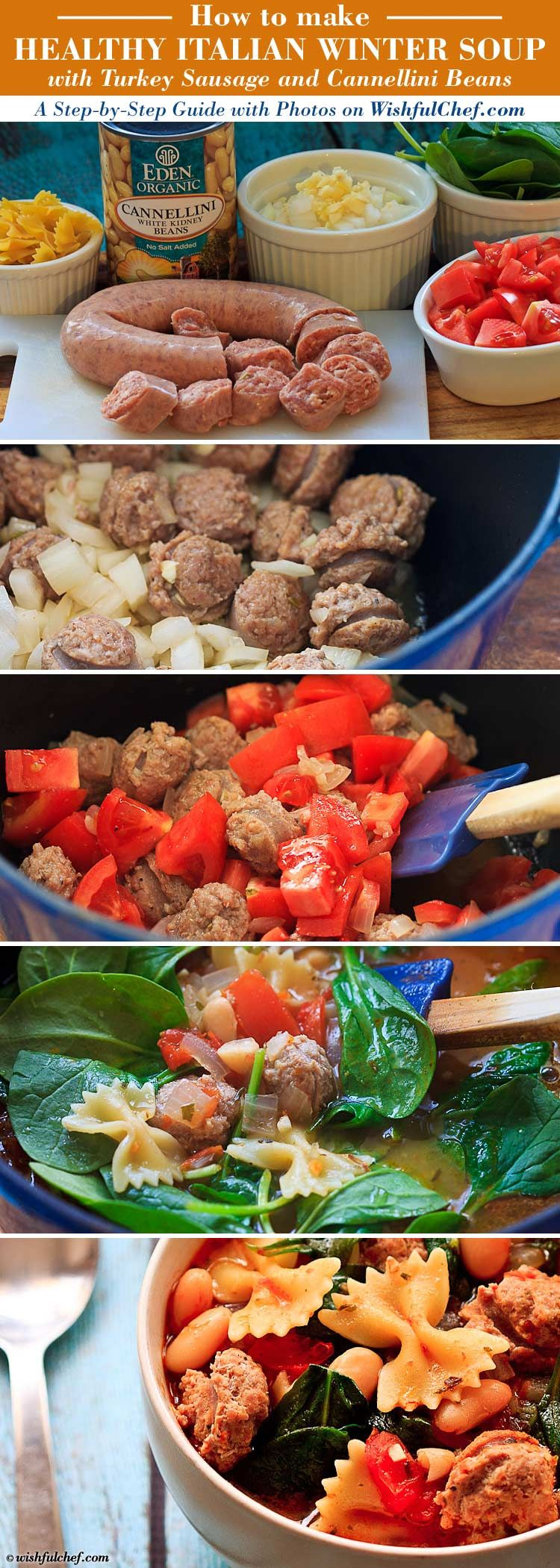 A Step-by-Step Guide: Healthy Italian Winter Soup with Turkey Sausage // wishfulchef.com #Thanksgiving #Recipes