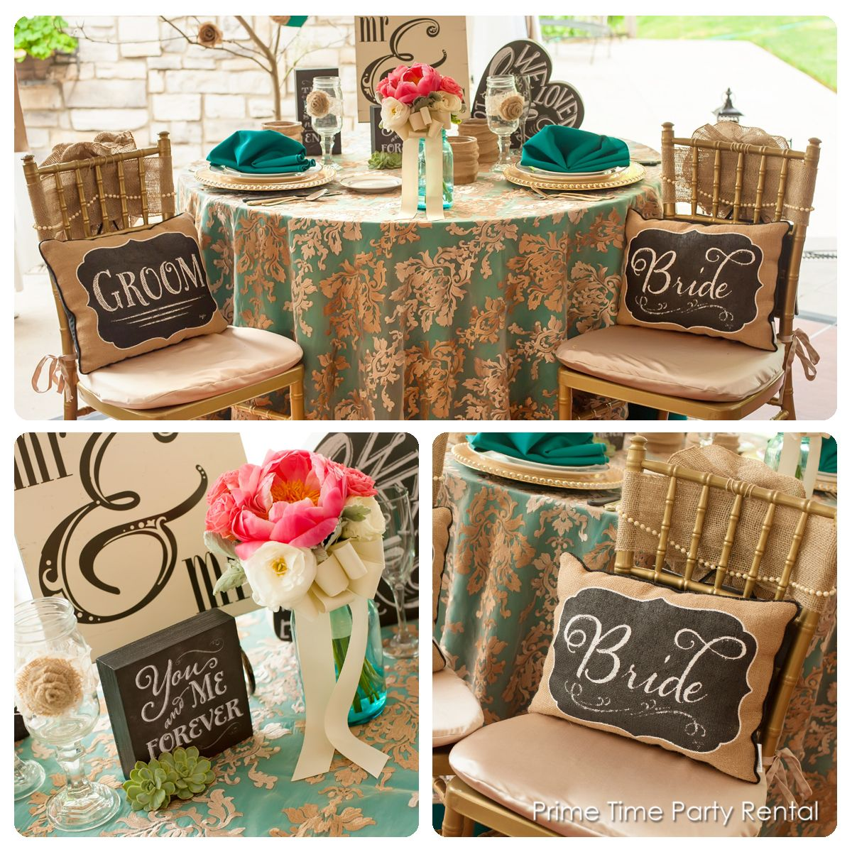 Rustic Chic Sweetheart Table With Teal Gold And Burlap Burlap Rustic Wedding Teal Gold Chair And Table Rental Party Rentals Wedding Event Planning