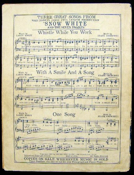 Would Love To Frame This 1937 Disney Snow White Seven Dwarfs Music Sheet Someday My Prince Will Come Snow White Snow White Disney Snow White Seven Dwarfs