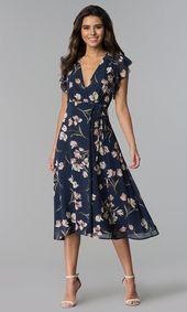 Dunkelblaues knielanges Kleid für Hochzeitsgäste mit ...