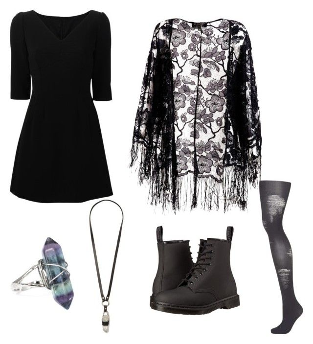 """Untitled #62"" by crownthevillian on Polyvore featuring Dolce&Gabbana, Pussycat, Topshop, Dr. Martens and JAKIMAC"