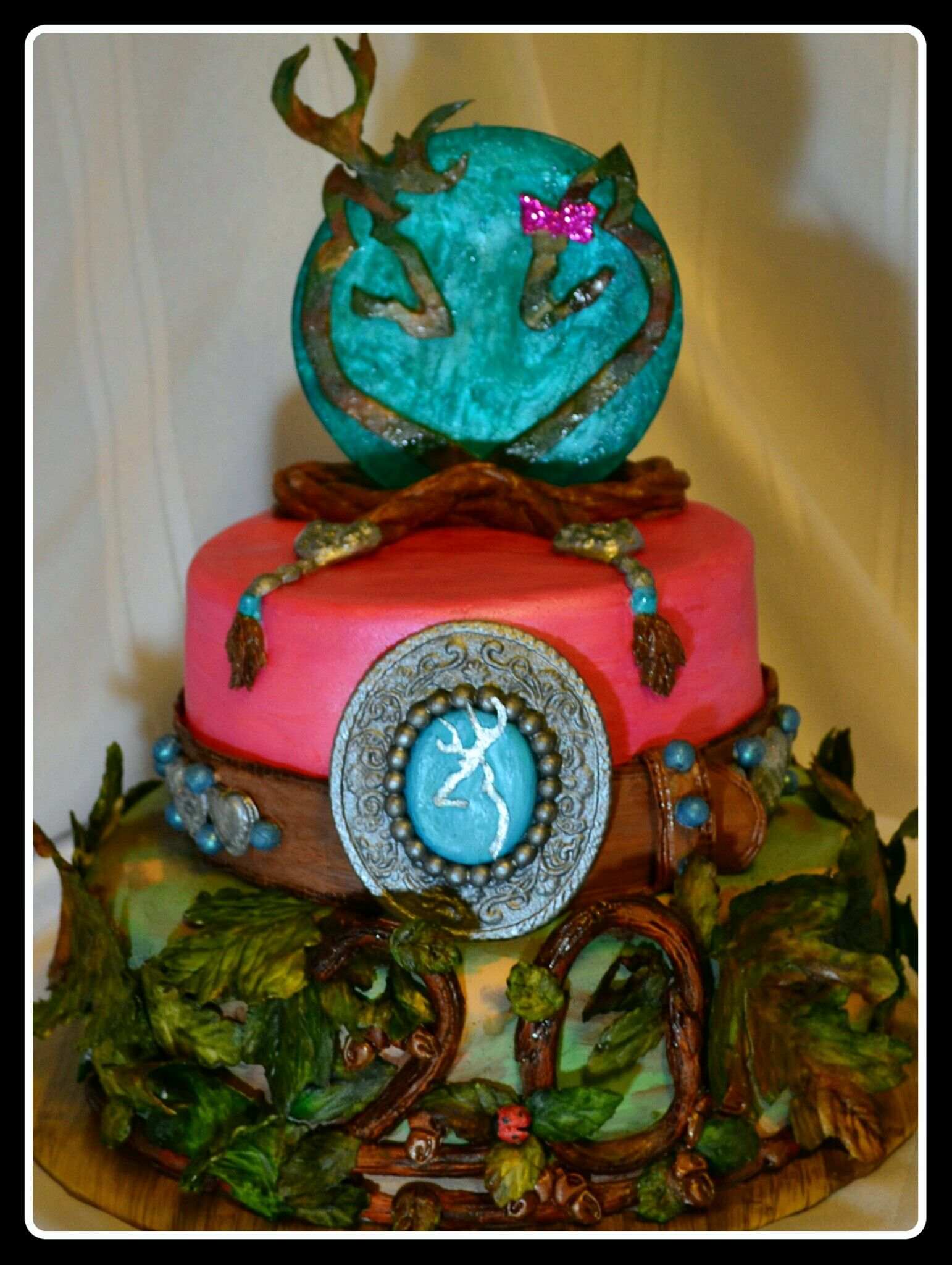 Hot pink and camo browning logo birthday cake tooled leather hot pink and camo browning logo birthday cake tooled leather belt and poured sugar cake topper cover this yummy strawberry cake biocorpaavc Images