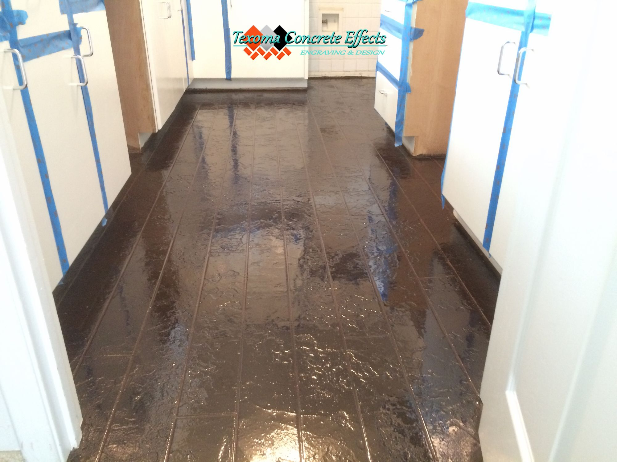 Stained Concrete Overlay Wood Plank Design In Kitchen By Texoma Concrete Effects Iowa Park Tx Stained Concrete Concrete Overlay Wood Planks