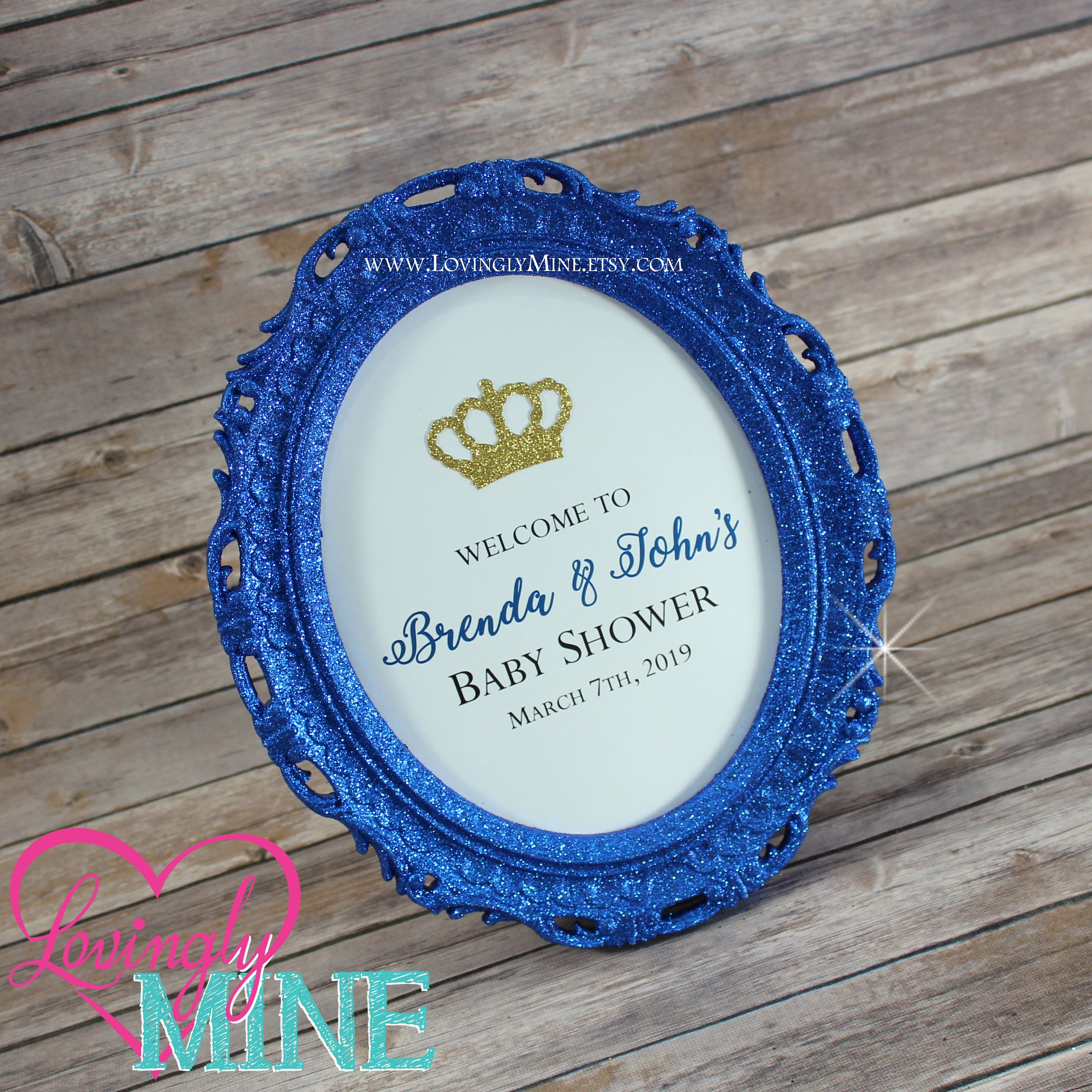 8 X 10 Oval Fine Royal Blue Glitter Frame -
