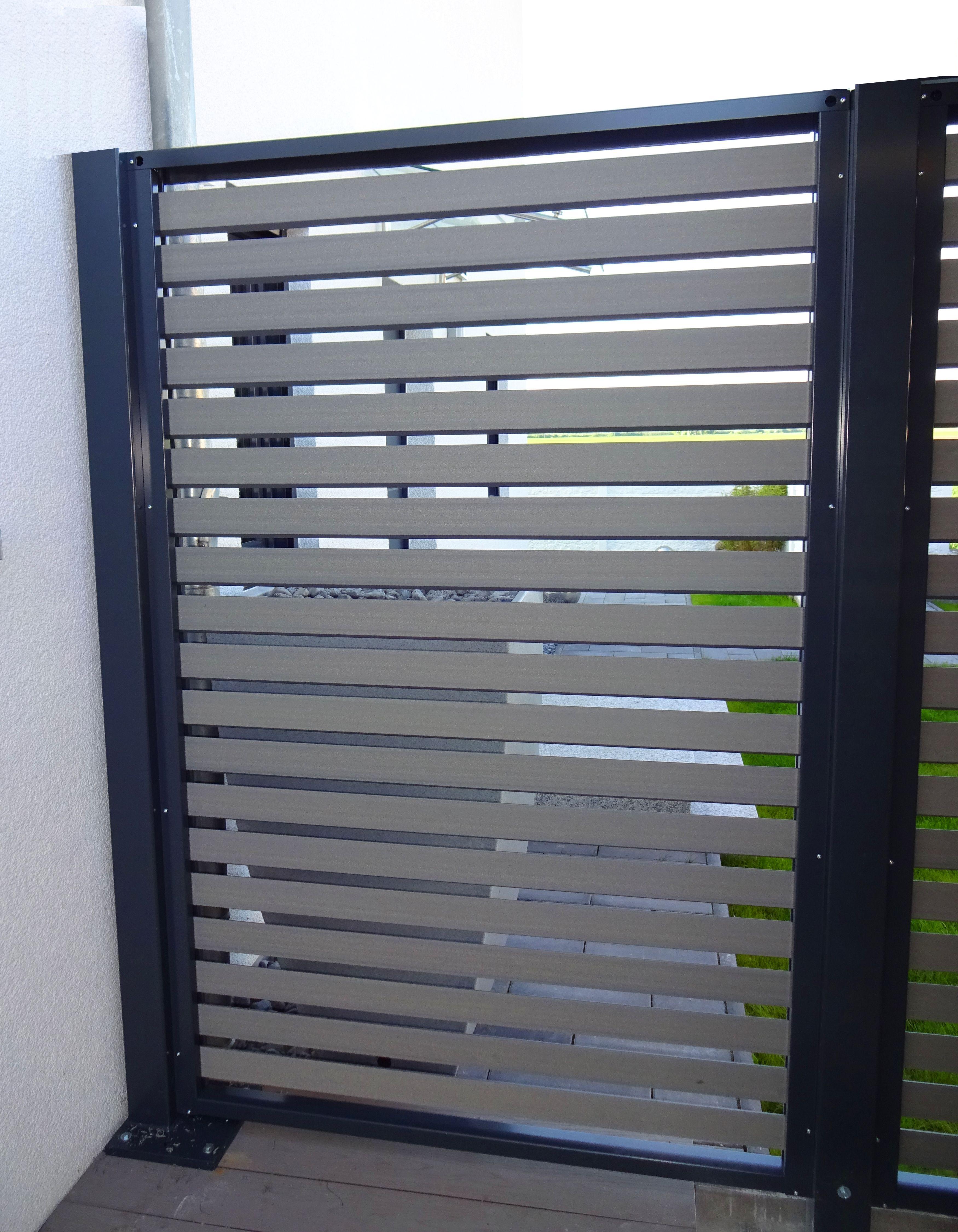 MyPort Sichtschutz mit WPC Wandfüllung Sichtschutz Stahl Holz