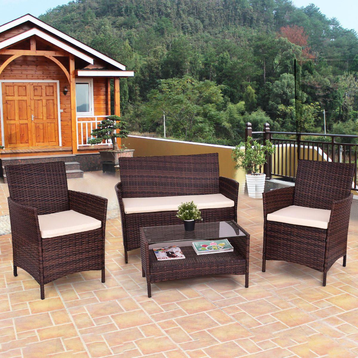 Gentil 4Pcs Outdoor Patio Pe Rattan Wicker Table Shelf Sofa Furniture Set With  Cushion