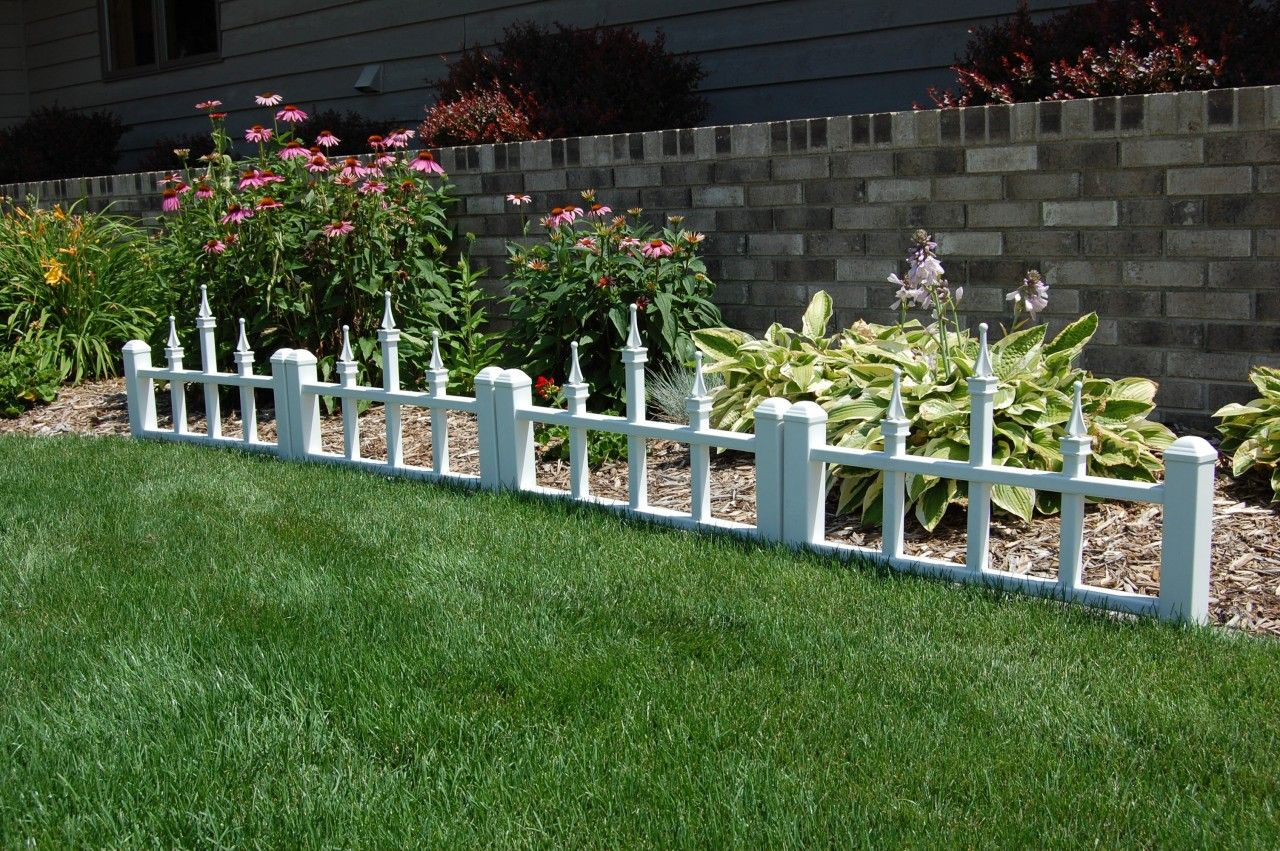 Fencing With Floral Borders | ... Camelot Garden Edging White Vinyl Fence 4  Sections