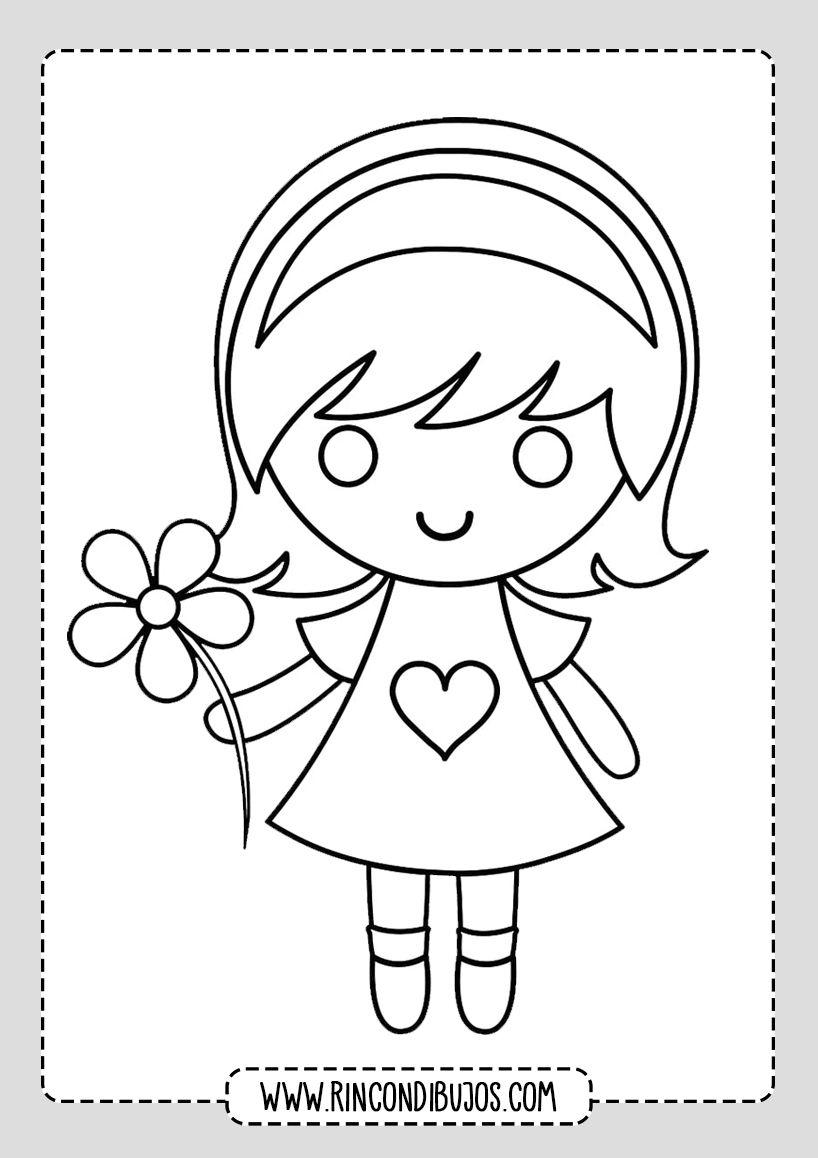 Dibujo De Nina Con Una Flor Rincon Dibujos Dibujos Para Ninos Dibujos Ninos
