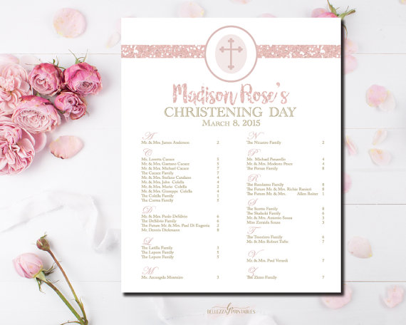 Baptism Table Seating Chart Christening by BellezzaPrintables - seating chart