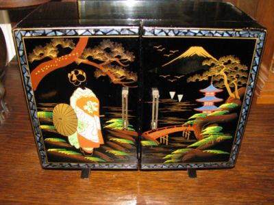 Image detail for ANTIQUE WWII JAPANESE BLACK LACQUER JEWELRY MUSIC