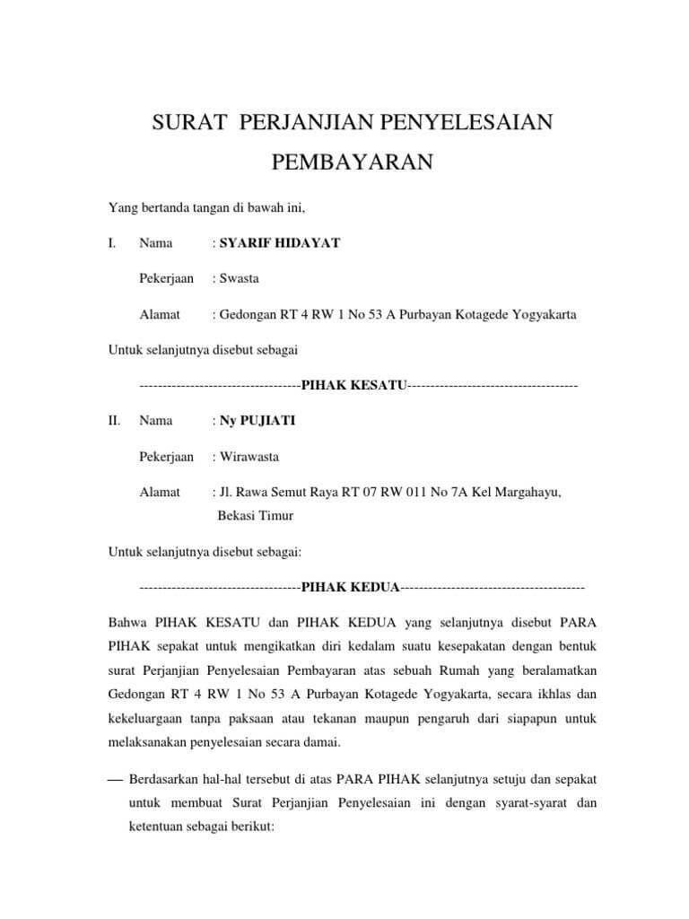 Contoh Surat Perjanjian Jual Beli Rumah Tanpa Notaris ...