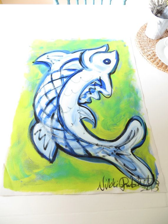 Clearance The Fish  A 18 x 25 Original Acrylic by StudioOnTheBlvd, $79.00
