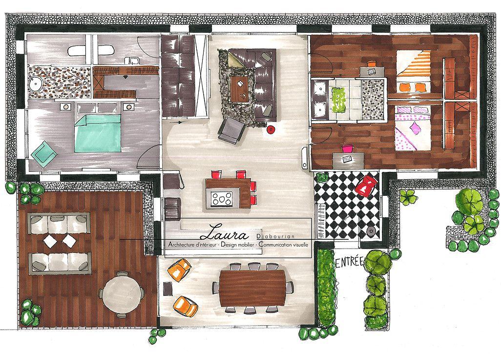Laura Djabourian II Plan agencement colorimétrique d\u0027une maison - Plan Gratuit De Maison Plain Pied