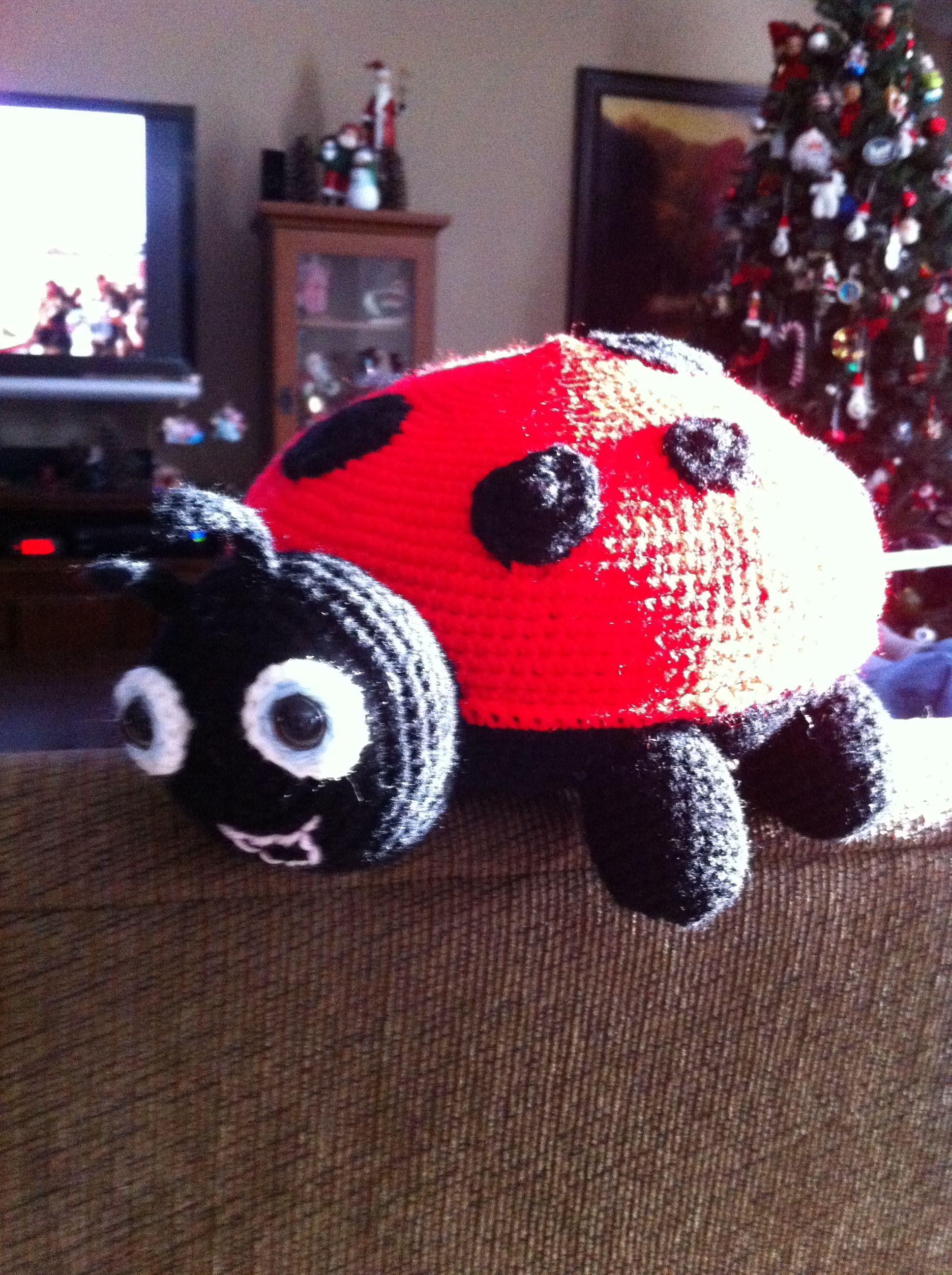 crocheted ladybug pillow  pattern found in Crochet World Magazine
