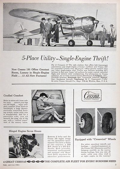 1954 Cessna 195 Airplane Vintage Print Ad Cessna Private Aircraft Vintage Ads