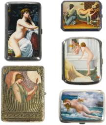 Four Continental silver and enamel erotic cigarette cases early 20th century