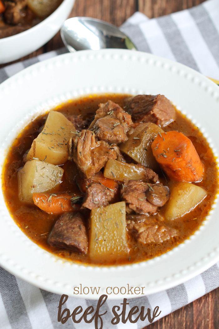 Slow Cooker Beef Stew Recipe Slow Cooker Beef Beef Mushroom Stew Beef Recipes