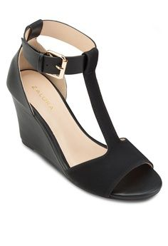 647433bc8e47 T-Strap Wedges from ZALORA in black 1