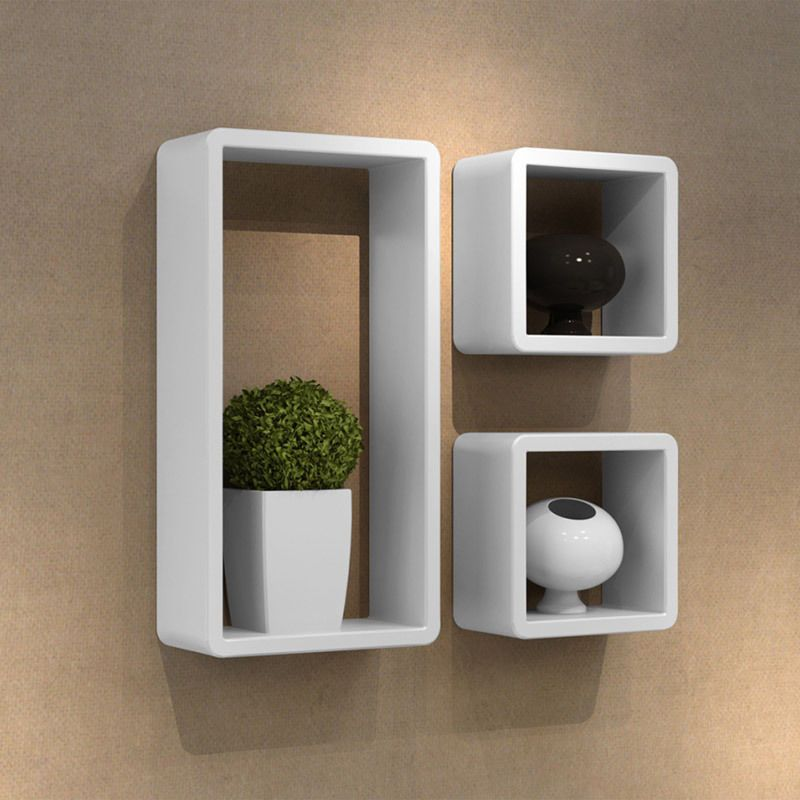 New Wall Mount Cubby Cube Storage Display Shelf Set Of 3 Shelves Sky Box  White